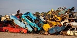 Cars in a scrapyard